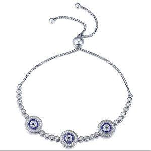 Jewelry - Platinum Plated Sterling Silver Evil Eye Bracelet